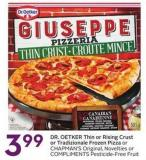 Dr. Oetker Thin or Rising Crust or Tradizionale Frozen Pizza or Chapman's Original - Novelties or Compliments Pesticide-free Fruit