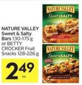 Nature Valley Sweet & Salty Bars 130-175 g or Betty Crocker Fruit Snacks 128-226 g
