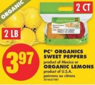 PC Organics Sweet Peppers or Organic Lemons