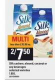 Silk Cashew - Almond - Coconut Or Soy Beverages - 1.89 L