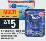 PC Blue Menu Beans - Peas - Lentils Or Soup Mix - 900 G Or Tilda Ready To Heat - 250 G
