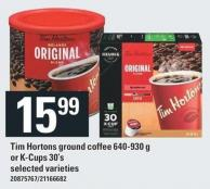 Tim Hortons Ground Coffee 640-930 G Or K-cups 30's