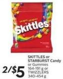 Skittles or Starburst Candy or Gummies 164-191 g or Twizzlers 340-454 g