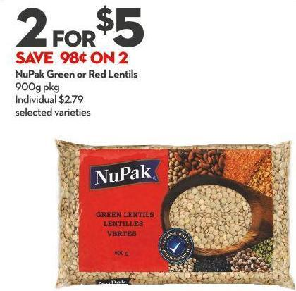 Nupak Green or Red Lentils 900g Pkg