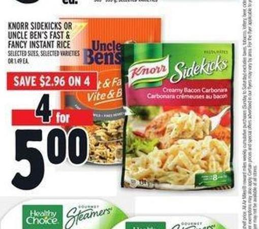 Knorr Sidekicks or Uncle Ben's Fast & Fancy Instant Rice