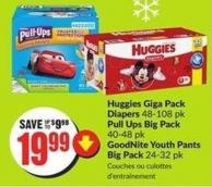 Huggies Giga Pack Diapers 48-108 Pk Pull Ups Big Pack 40-48 Pk