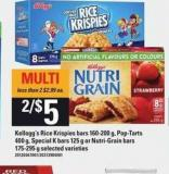 Kellogg's Rice Krispies Bars - 160-200 G - Pop-tart.s 400 G - Special K Bars - 125 G Or Nutri-grain Bars - 175-295 G