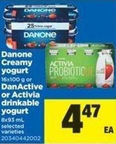Danone Creamy Yogurt - 16x100 g or Danactive Or Activia Drinkable Yogurt - 8x93 mL