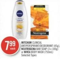 Mitchum Clinical Antiperspirant/deodorant (45g) - Neutrogena Bar Soap (3 X 100g) or Nivea Body Wash (750ml)
