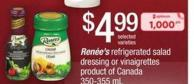 Renée's Refrigerated Salad Dressing Or Vinaigrettes - 350-355 mL