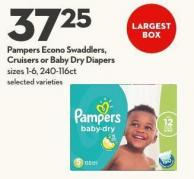 Pampers Econo Swaddlers -  Cruisers or Baby Dry Diapers Sizes 1-6 - 240-116ct