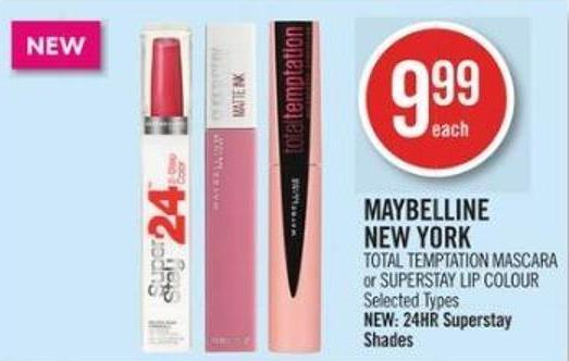 Maybelline  New York Total - Temptation Mascara or Superstay Lip Colour
