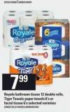 Royale Bathroom Tissue 12 Double Rolls - Tiger Towels Paper Towels - 6's Or Facial Tissue - 6's