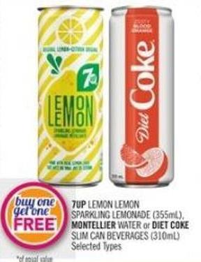 7up Lemon Lemon Sparkling Lemonade (355ml) - Montellier Water or Diet Coke Slim Can Beverages (310ml)