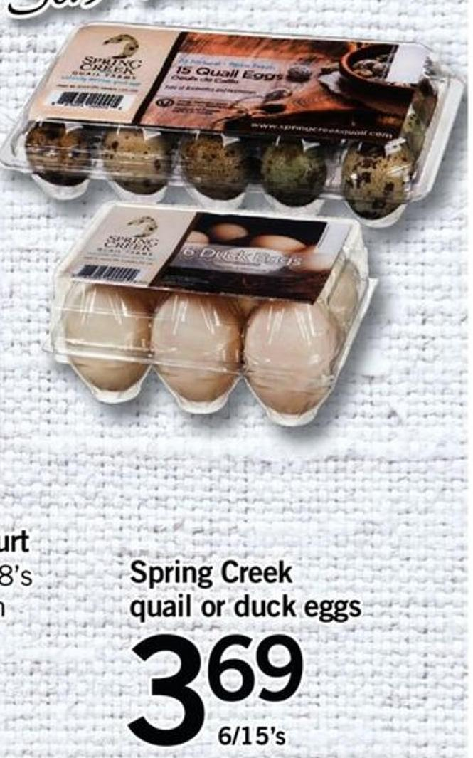 Spring Creek Quail Or Duck Eggs - 6/15's