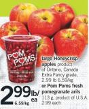 Large Honeycrisp Apples Or POM Poms Fresh Pomegranate Arils 113 G