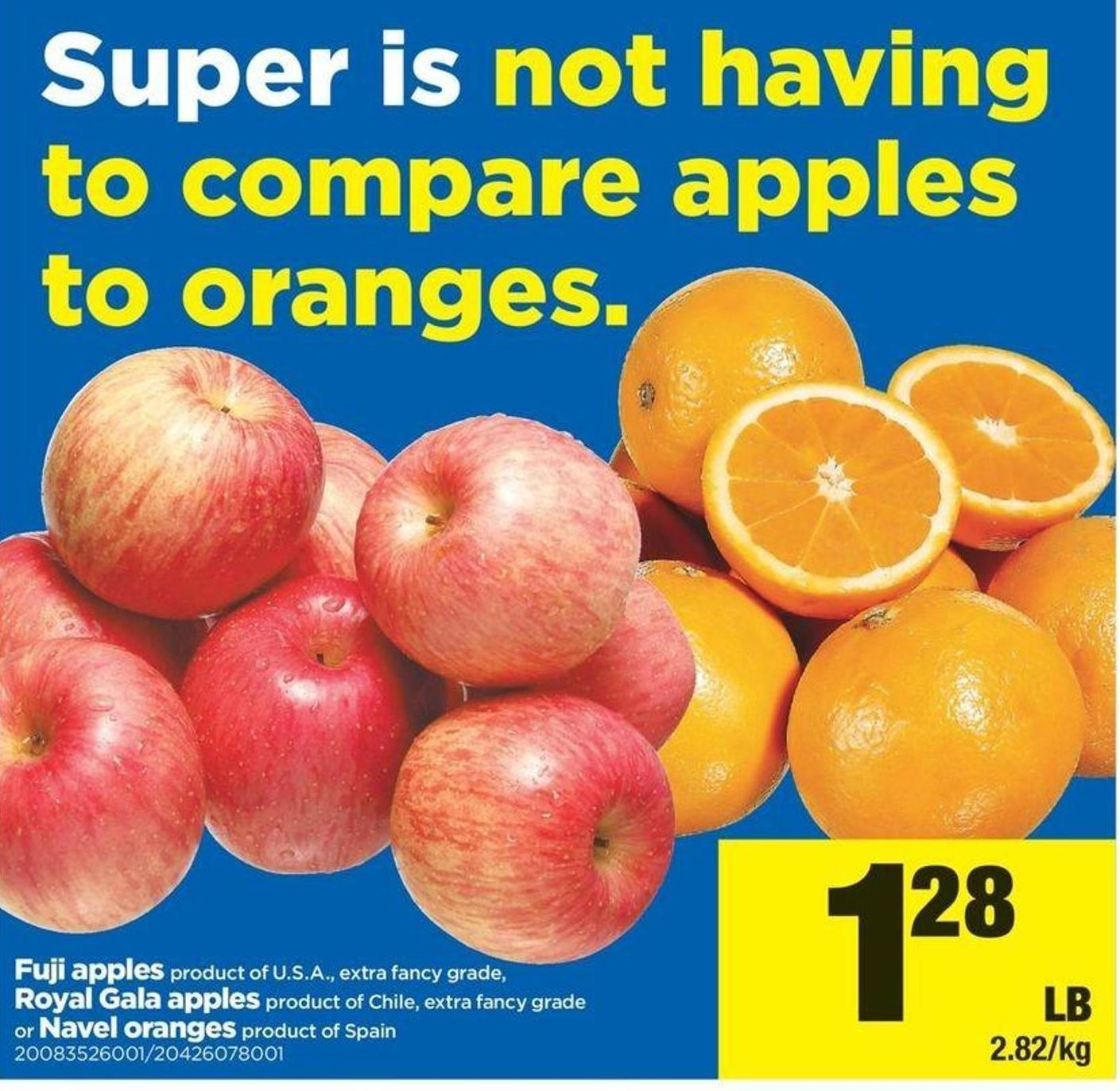 Fuji Apples Or Royal Gala Apples Or Navel Oranges