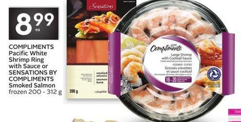 Compliments Pacific White Shrimp Ring With Sauce or Sensations By Compliments Smoked Salmon
