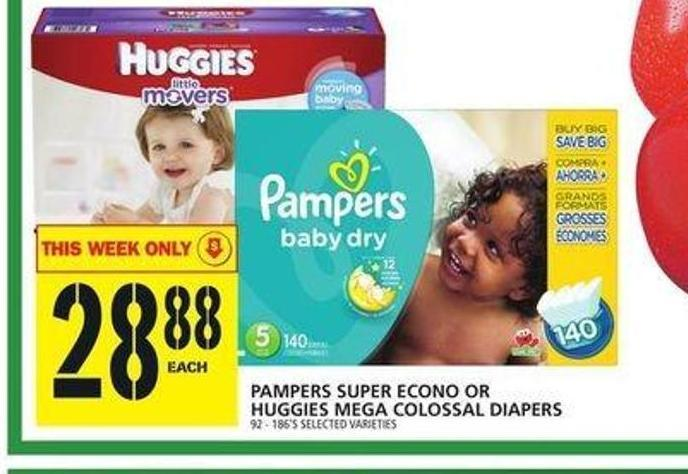 Pampers Super Econo Or Huggies Mega Colossal Diapers