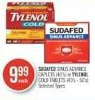 Sudafed Sinus Advance Caplets (40's) or Tylenol Cold Tablets (40's - 50's)