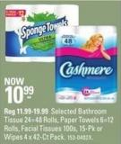 Selected Bathroom Tissue 24=48 Rolls - Paper Towels 6=12 Rolls - Facial Tissues 100s - 15-pk or Wipes 4 X 42-ct Pack