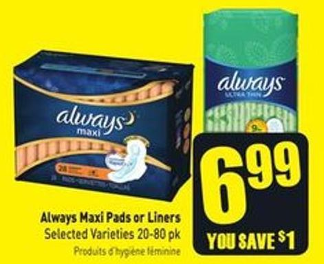 Always Pads - 12-24's - Liners - on sale | Salewhale ca