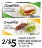 Compliments Reclosable Sandwich or Snack Bags