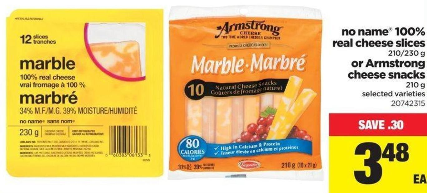 No Name 100% Real Cheese Slices - 210/230 G Or Armstrong Cheese Snacks - 210 G