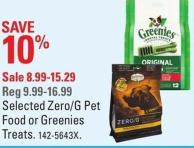 Selected Zero/g Pet Food or Greenies Treats