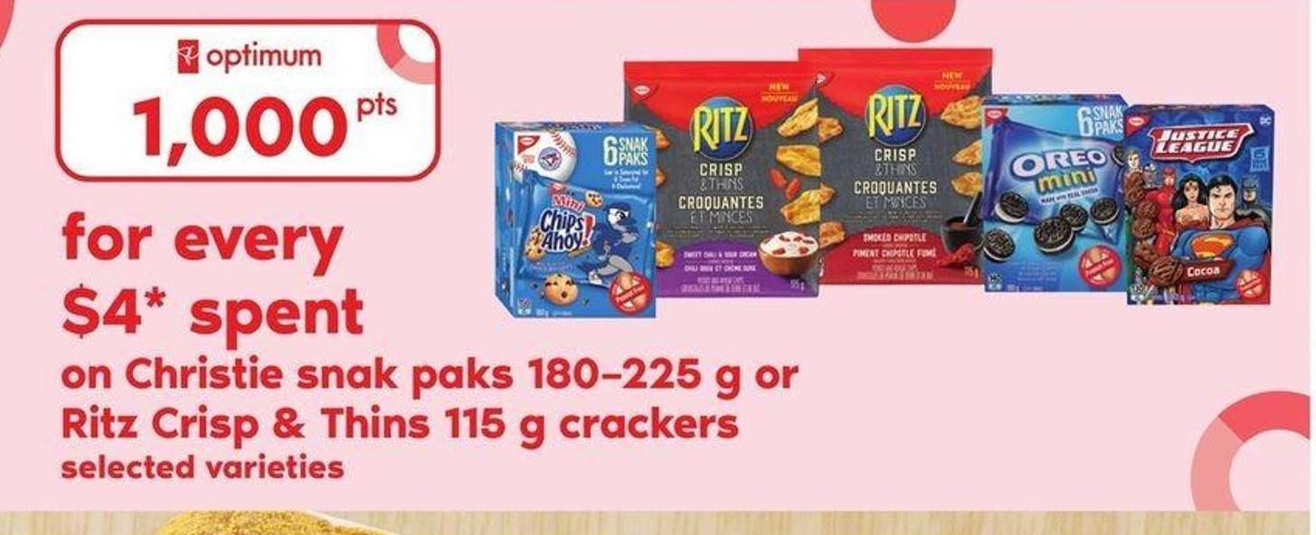 Christie Snak Paks 180–225 G Or Ritz Crisp & Thins 115 G Crackers