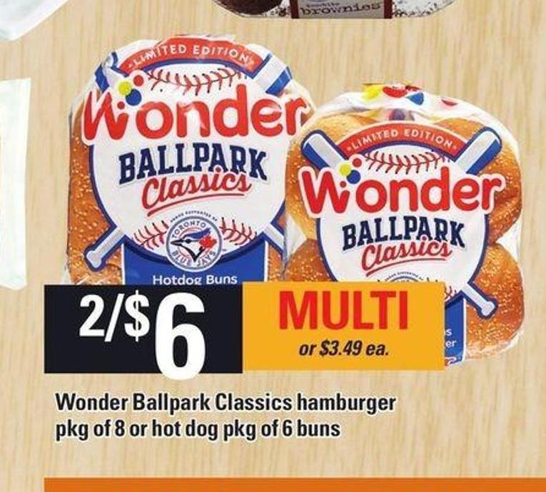 Wonder Ballpark Classics Hamburger Pkg Of 8 Or Hot Dog Pkg Of 6 Buns