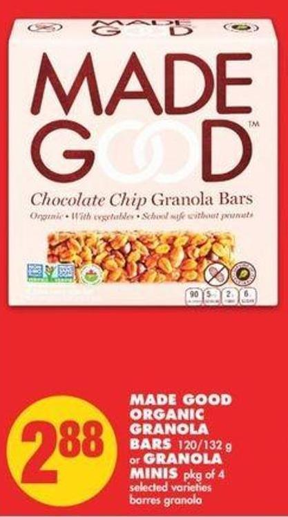 Made Good Organic Granola Bars 120/132 G Or Granola Minis Pkg Of 4