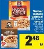 Quaker Instant Oatmeal - 138-344 G Or Cereal - 350-600g
