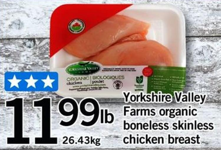 Yorkshire Valley Farms Organic Boneless Skinless Chicken Breast - 26.43kg