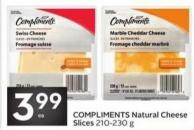 Compliments Natural Cheese Slices 210 - 230 g
