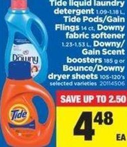 Tide Liquid Laundry Detergent - 1.09-1.18 L - Tide Pods/gain Flings - 14 Ct - Downy Fabric Softener - 1.23-1.53 L - Downy/ Gain Scent Boosters - 185 G Or Bounce/downy Dryer Sheets - 105-120's