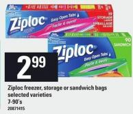 Ziploc Freezer - Storage Or Sandwich Bags - 7-90's