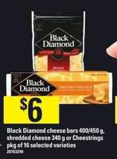 Black Diamond Cheese Bars 400/450 G - Shredded Cheese 340 G Or Cheestrings Pkg Of 16