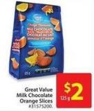 Great Value Milk Chocolate Orange Slices 125 g