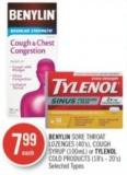 Benylin Sore Throat Lozenges (40's) - Cough Syrup (100ml) or Tylenol Cold Products (18's - 20's)