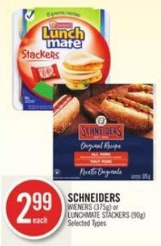 Schneiders Wieners (375g) or Lunchmate Stackers (90g)