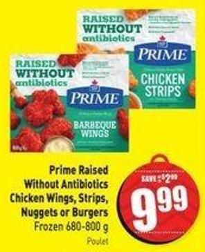 Prime Raised Without Antibiotics Chicken Wings - Strips - Nuggets or Burgers Frozen 680-800 g Poulet