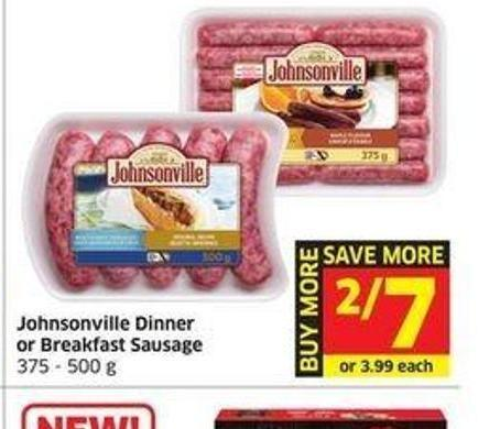 Johnsonville Dinner or Breakfast Sausage