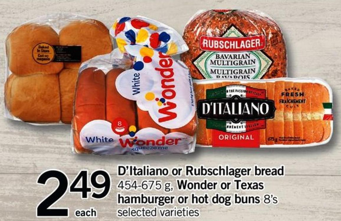 D'italiano Or Rubschlager Bread - 454-675 G - Wonder Or Texas Hamburger Or Hot Dog Buns - 8's