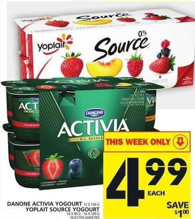 Danone Activia Yogourt Or Yoplait Source Yogourt