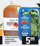 PC Apple Cider - 3 L Product Of Ontario Or Queen Victoria Baby Spinach - 312 G