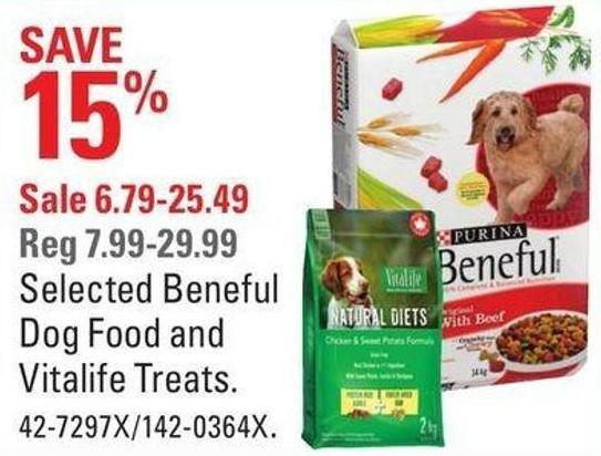 Selected Beneful Dog Food and Vitalife Treats.
