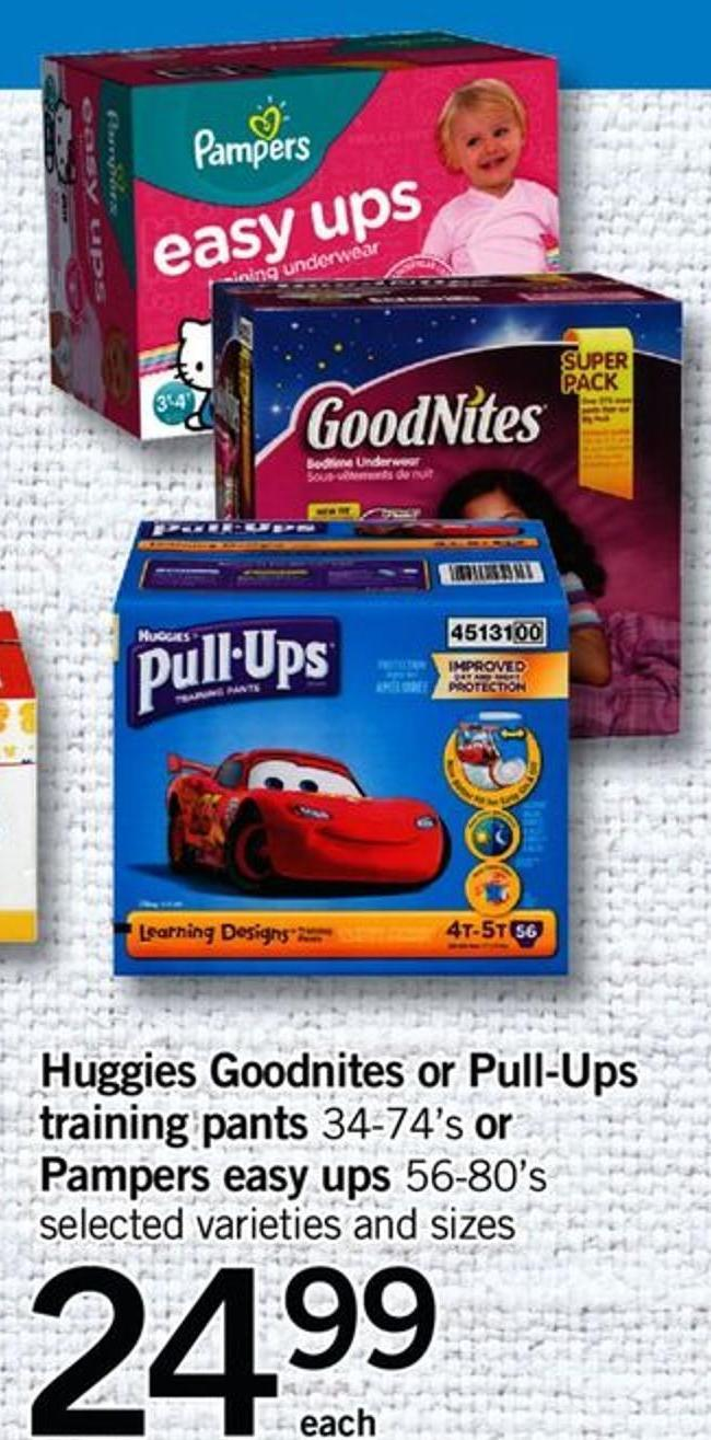 Huggies Goodnites Or Pull-ups Training Pants 34-74's Or Pampers Easy Ups 56-80's