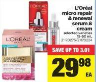 L'oréal Micro Repair & Renewal Serum & Cream - 15-50 mL