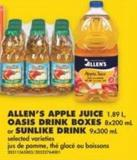 Allen's Apple Juice - 1.89 L - Oasis Drink Boxes - 8x200 mL or Sunlike Drink - 9x300 mL
